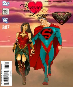 Fan Photoshop Edit Comic Cover Of Older Superman and Forever ageless Wonder Woman