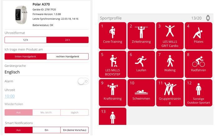 Polar 370, Pulsuhr, Pulsmessung, Fitness, Sport, Sportuhr, Fitnesstracker, Schlafmodus, Schrittezähler, Brack, brack.ch, Sportprofile, Fitness,