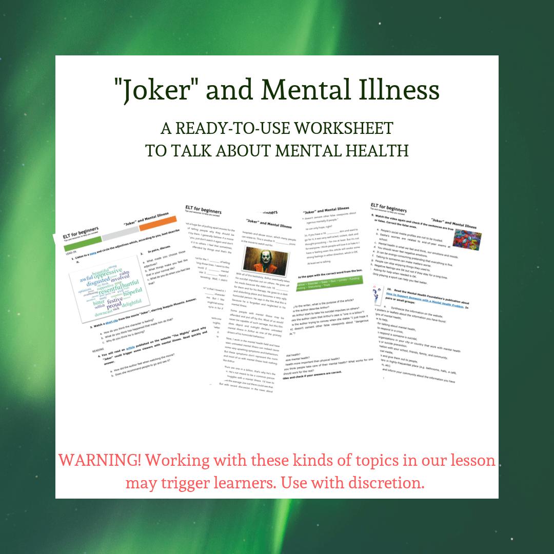Video Based Worksheet Joker And Mental Illness Elt