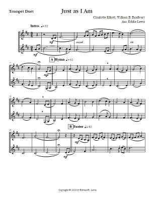 Just as I Am Trumpet Hymn Duet sample score