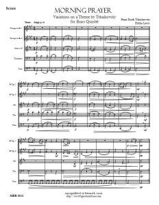 Tchaikovsky Morning Prayer Theme and Variations brass quintet sheet music PDF sample score