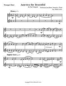 America the Beautiful Trumpet Duet Sheet Music PDF Sample