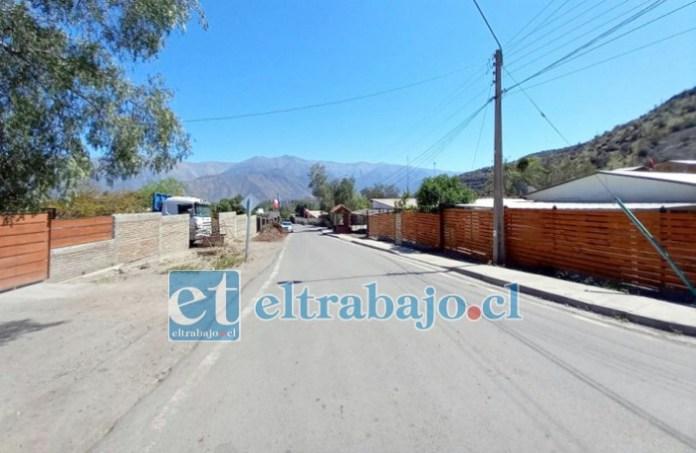 En esta calle sería donde fue encontrada la mujer deambulando. (Foto Putaendoinforma.com)