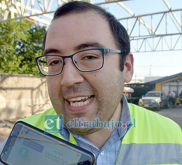 Relacionador público de Bomberos de Santa María, Diego Arancibia.