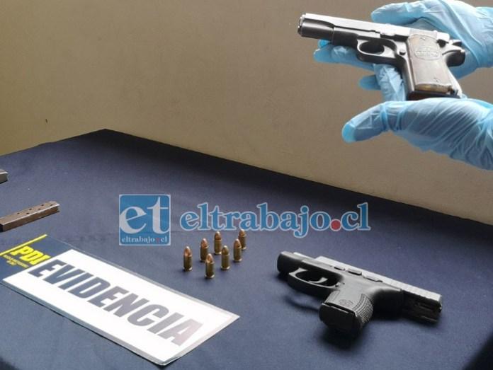 Las armas incautadas por la PDI Los Andes en este procedimiento.
