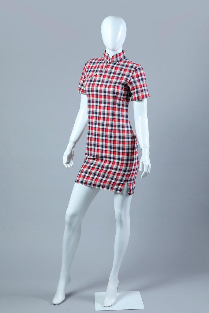 vestido recto corto escocés frisado a cinco colores, tejido plano.