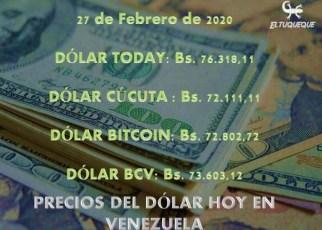 Precio del dólar hoy 27/02/2020 en Venezuela