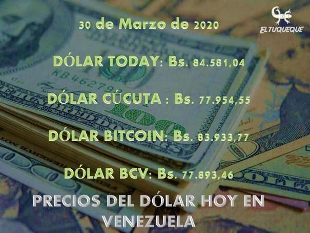 precio del dólar hoy 30/03/2020 en Venezuela