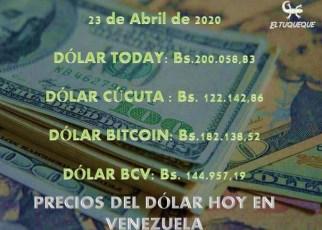 precio del dólar hoy 23/04/2020 en Venezuela