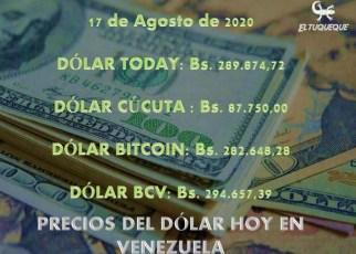 Precio del dólar hoy 17/08/2020 en Venezuela