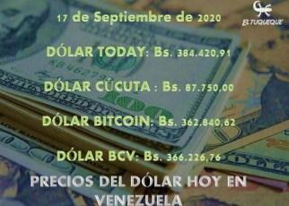 Precio del dólar hoy 17/09/2020 en Venezuela
