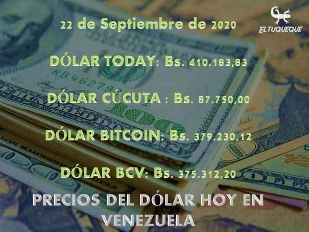 precio del dólar hoy 22/09/2020 en Venezuela