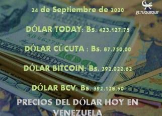 precio del dólar hoy 24/09/2020 en Venezuela