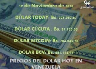 precio del dólar hoy 19/11/2020 en Venezuela