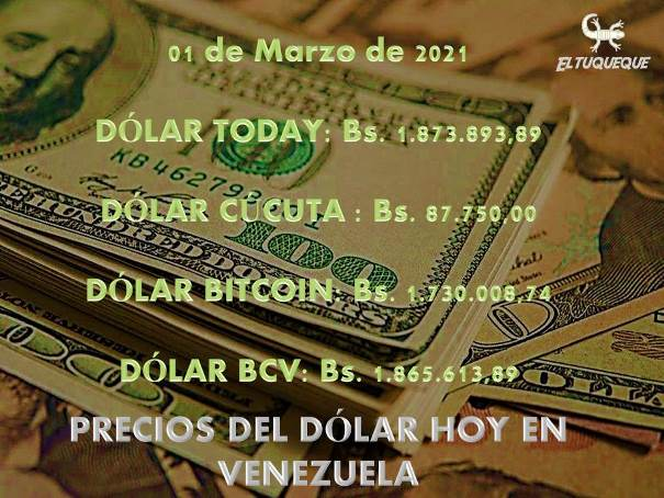 precio del dólar hoy 01/03/2021 en Venezuela
