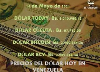 Presentamos un resumen del precio del dólar hoy 14/05/2021 en Venezuela