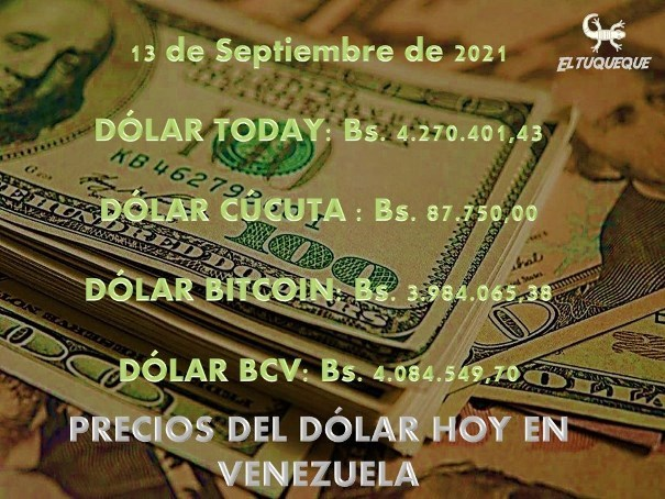 precio del dólar hoy 13/09/2021 en Venezuela