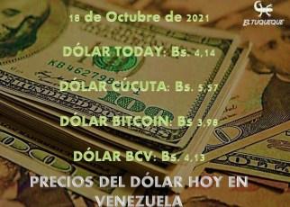 precio del dólar hoy 18/10/2021 en Venezuela