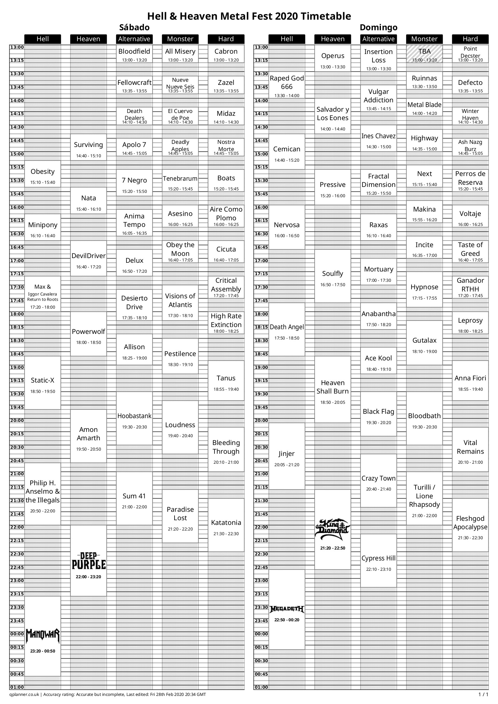 horarios hell and heaven 2020