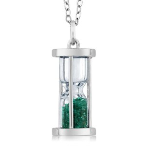 Emerald Dust Hourglass Pendant from Gem Stone King