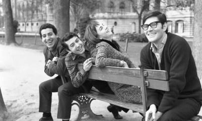 Víctor Jara, el escenógrafo Sergio Zapata, la diseñadora teatral Bruna Contreras y Alejandro Sieveking
