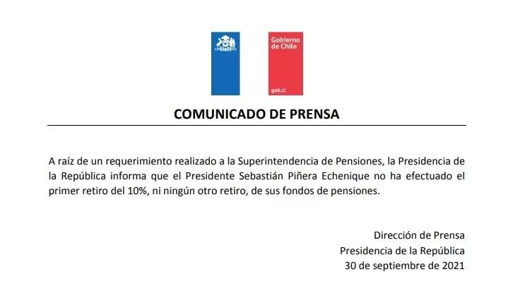 comunicado de presan La Moneda Piñera retiros AHJA01A