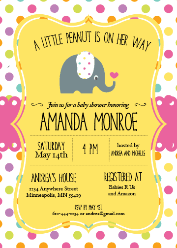 A little peanut is on her way elephant theme baby shower