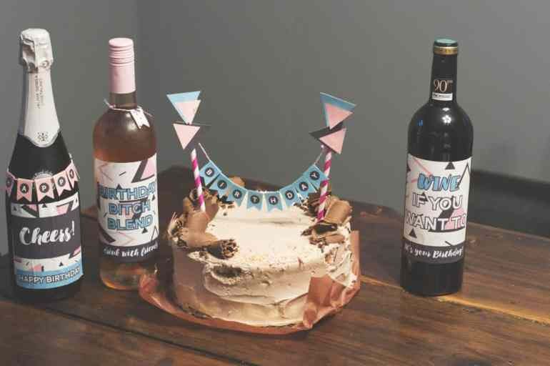 Abstract Mini Cake Bunting and Wine Labels by Elva M Design Studio