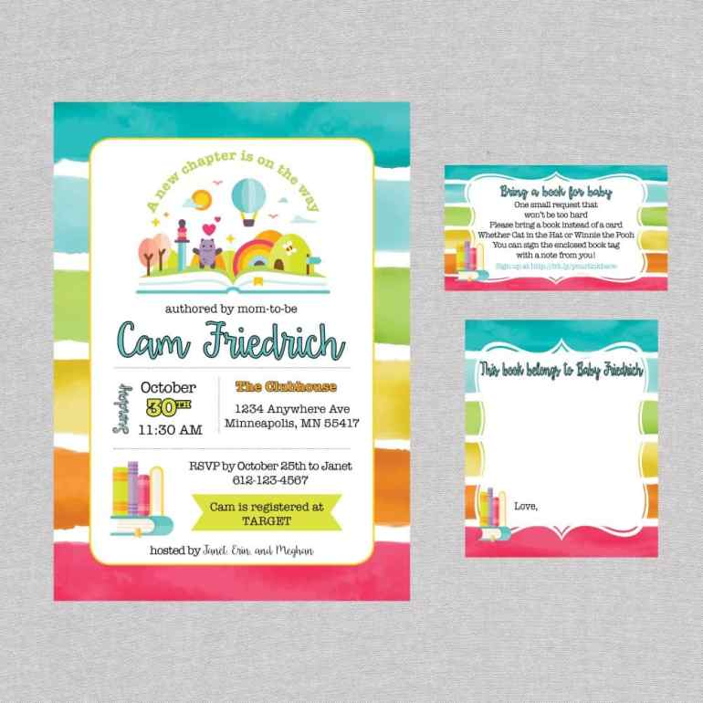 Rainbow Book Theme Baby Shower Invite and Book Labels by Elva M Design Studio