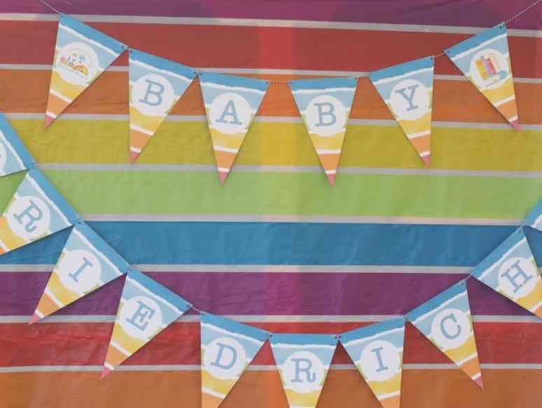 Rainbow Book Themed Baby Shower Party Bunting by Elva M Design Studio