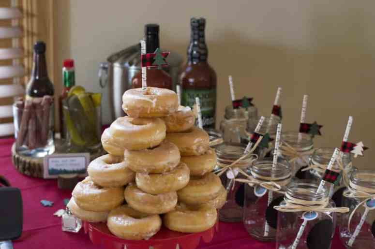 Donut tower at the Lumberjack birthday party
