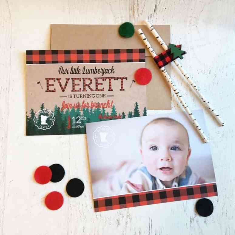 Lumberjack Birthday Party Invite by Elva M Design Studio