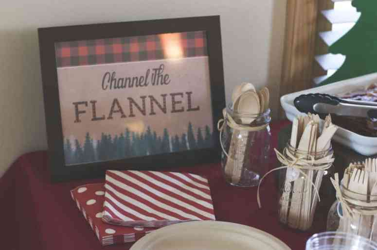 """Channel the Flannel"" Lumberjack party sign designed by Elva M Design Studio"