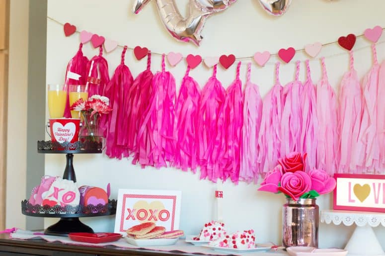 """Love"" Valentine's Day Party with Tissue Paper Tassel Bunting"