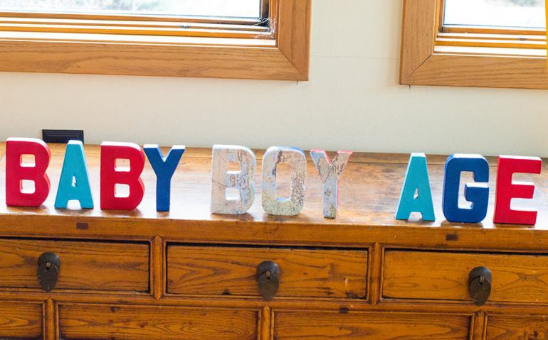Finished DIY Baby Shower Letters
