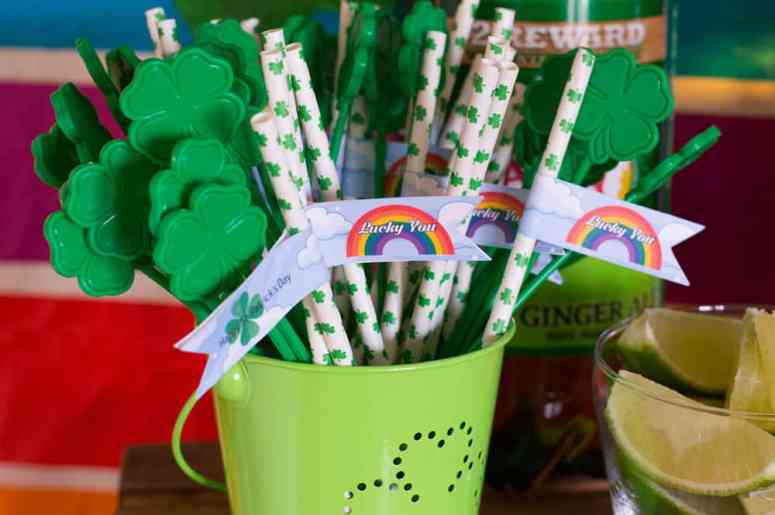 St. Patrick's Day straw flags