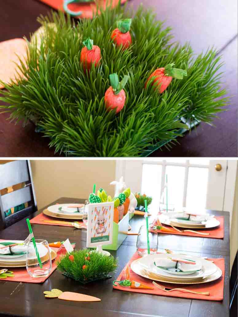 Grass and carrots decoration for Carrot Patch Easter Table
