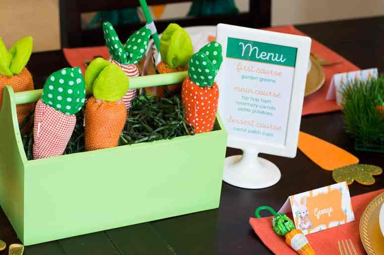 Carrot Patch Easter Centerpiece and free printable menu