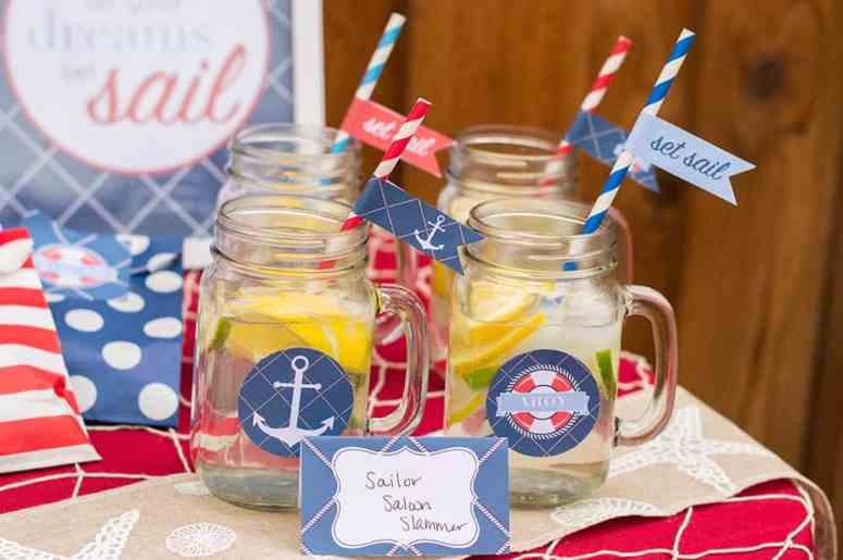 Nautical Party Mason Jar Drinks