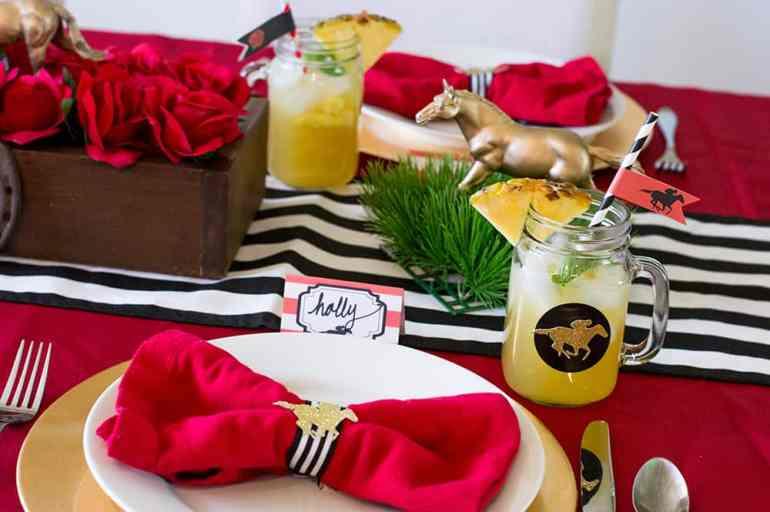 Kentucky Derby Pineapple Mint Julep Sangria and Table Setting | Elva M Design Studio