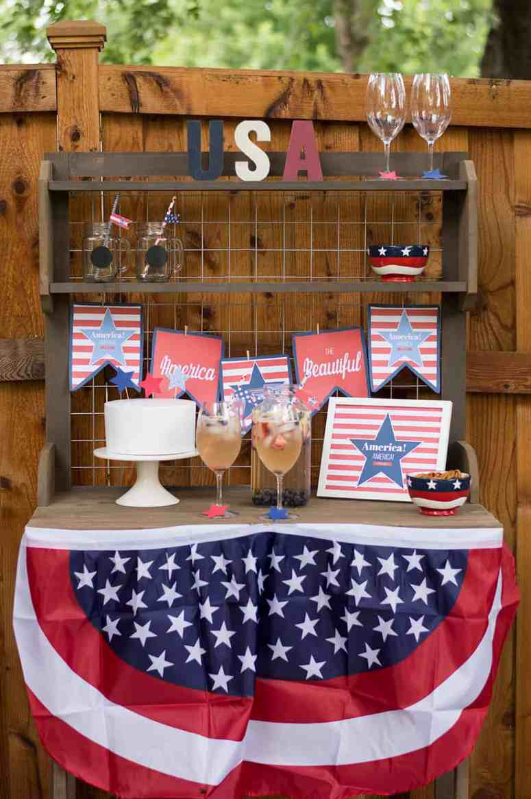 Potting Table Decorated for 4th of July