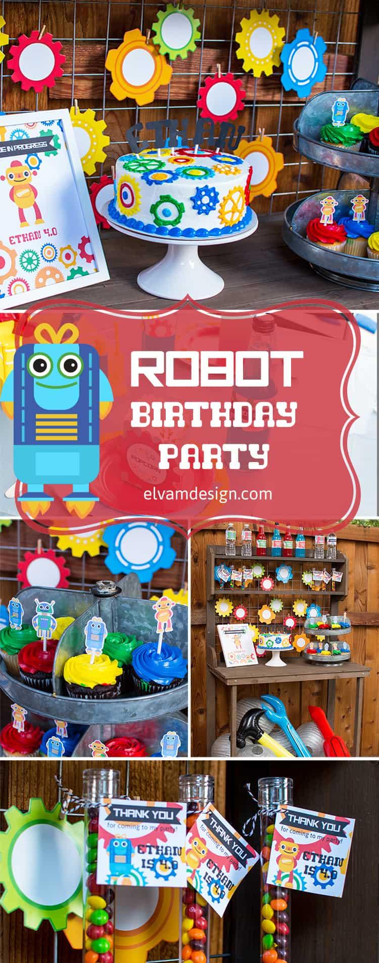 Robot Birthday Party styled by Elva M Design Studio
