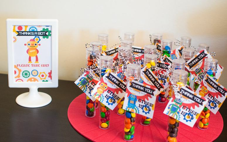 Robot Birthday Party Favors from Oriental Trading and Elva M Design Studio