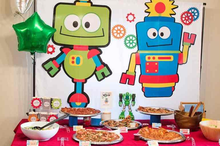 Robot Birthday Food Table styled by Elva M Design Studio