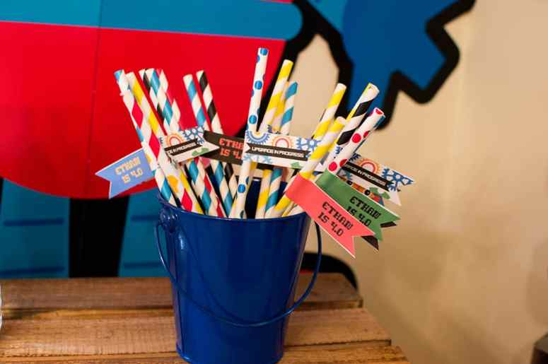 Robot Birthday Straw Flags designed by Elva M Design Studio