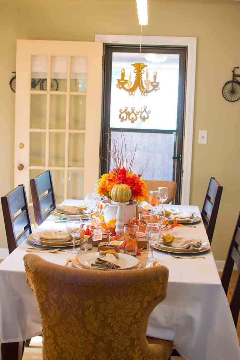 Festive Fall Tablescape with Chandelier from Oriental Trading Company