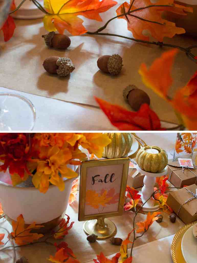 Acorn details on this Festive Fall Tablescape from Elva M Design Studio
