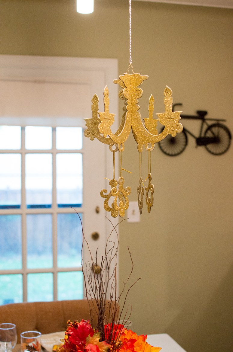 Festive Fall Tablescape Chandelier from Oriental Trading