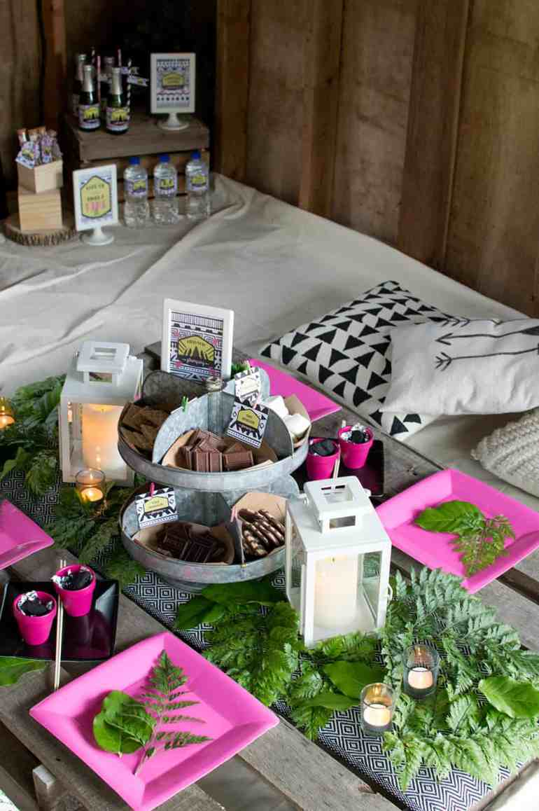 Glamping Table setting with S'mores Station