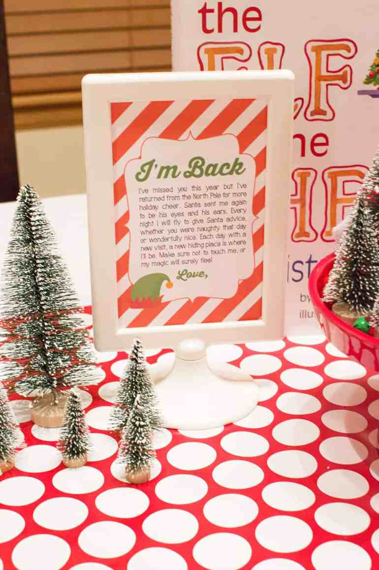 Elf on the Shelf Welcome Back Sign